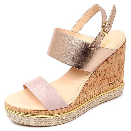D0336 sandalo donna HOGAN H324 scarpa zeppa sughero rosa/rosa platino shoe woman