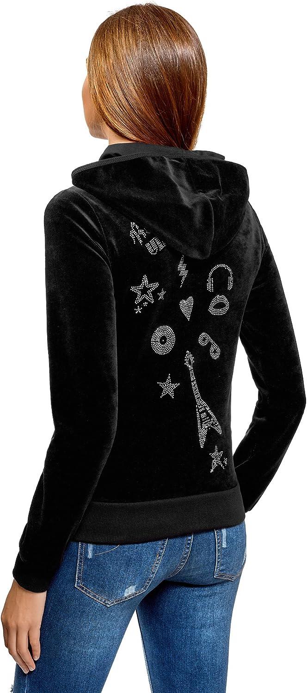 oodji Ultra Femme Hoodie en Velours D/écor/é de Strass