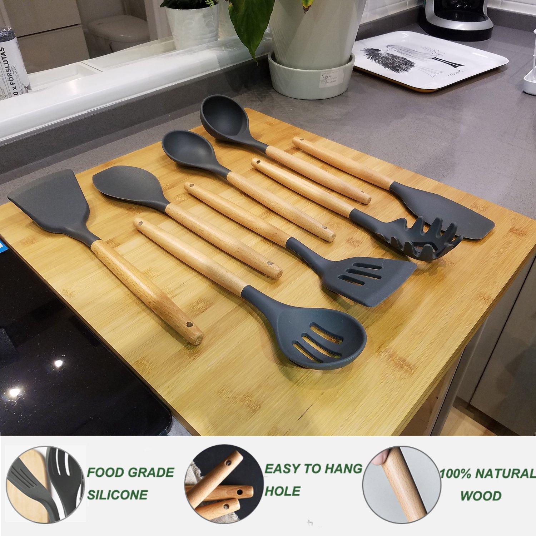 Cooking Utensils,8 Piece Kithcen Utensils Set,Shxmlf Wood Utensils Set Wood Spoon Spatula Set, Non-stick Utensil Set,Gray Kitchen Utensils, Eco-friendly(8) by shxmlf (Image #6)