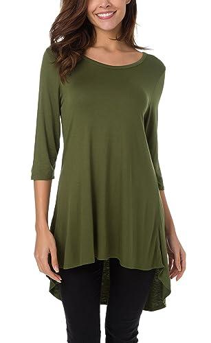 Urban GoCo Mujeres Camisetas Manga 3/4 Hi-Low Dobladillo T-Shirt Blusas Loose Color Sólido Camisas T...