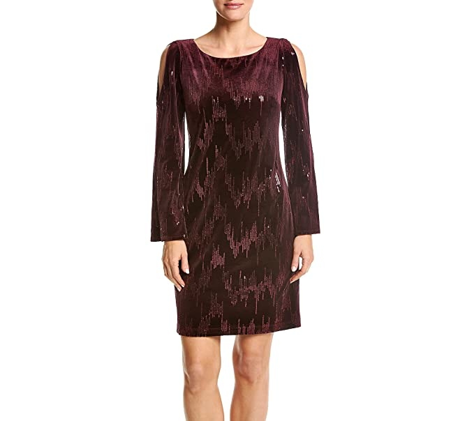 626fc6e3e13cd Jessica Howard Velvet Sequin Cold Shoulder Dress at Amazon Women's Clothing  store: