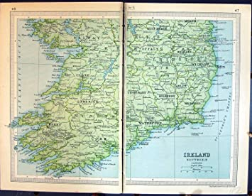 1931 Einbuchtungs Antike Karte Sud Irland Kilkenny Tipperary