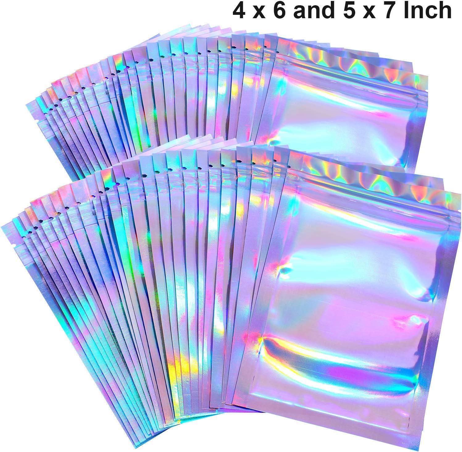 100 Pi/èces Sacs Refermables Anti-Odeur Sac de Pochette en Aluminium Sac Plat Ziplock pour Faveur de F/ête Stockage de Nourriture Couleur Holographique, 3 x 4 Pouces et 5 x 7 Pouces