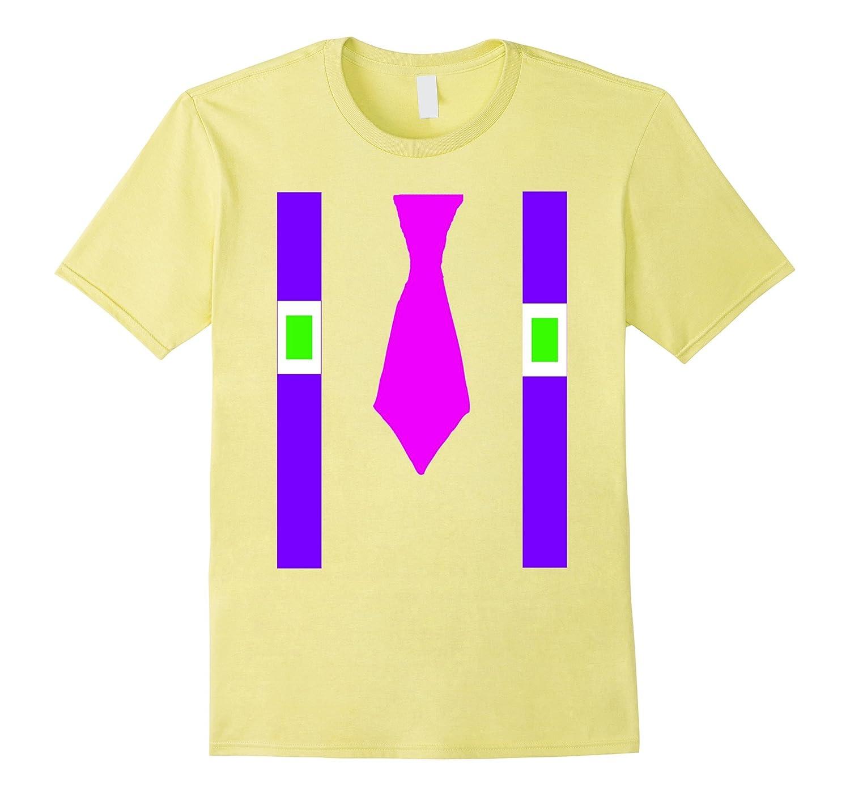 80's Party Shirt Pink Tie Purple Suspenders-T-Shirt