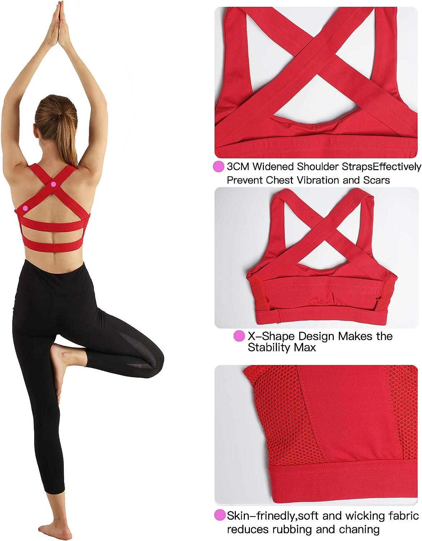 Snailify Reggiseno Sportivo da Donna Criss Cross Racerback Yoga ad Alto Impatto con Reggiseno Wirefree Reggiseno Allenamento Palestra