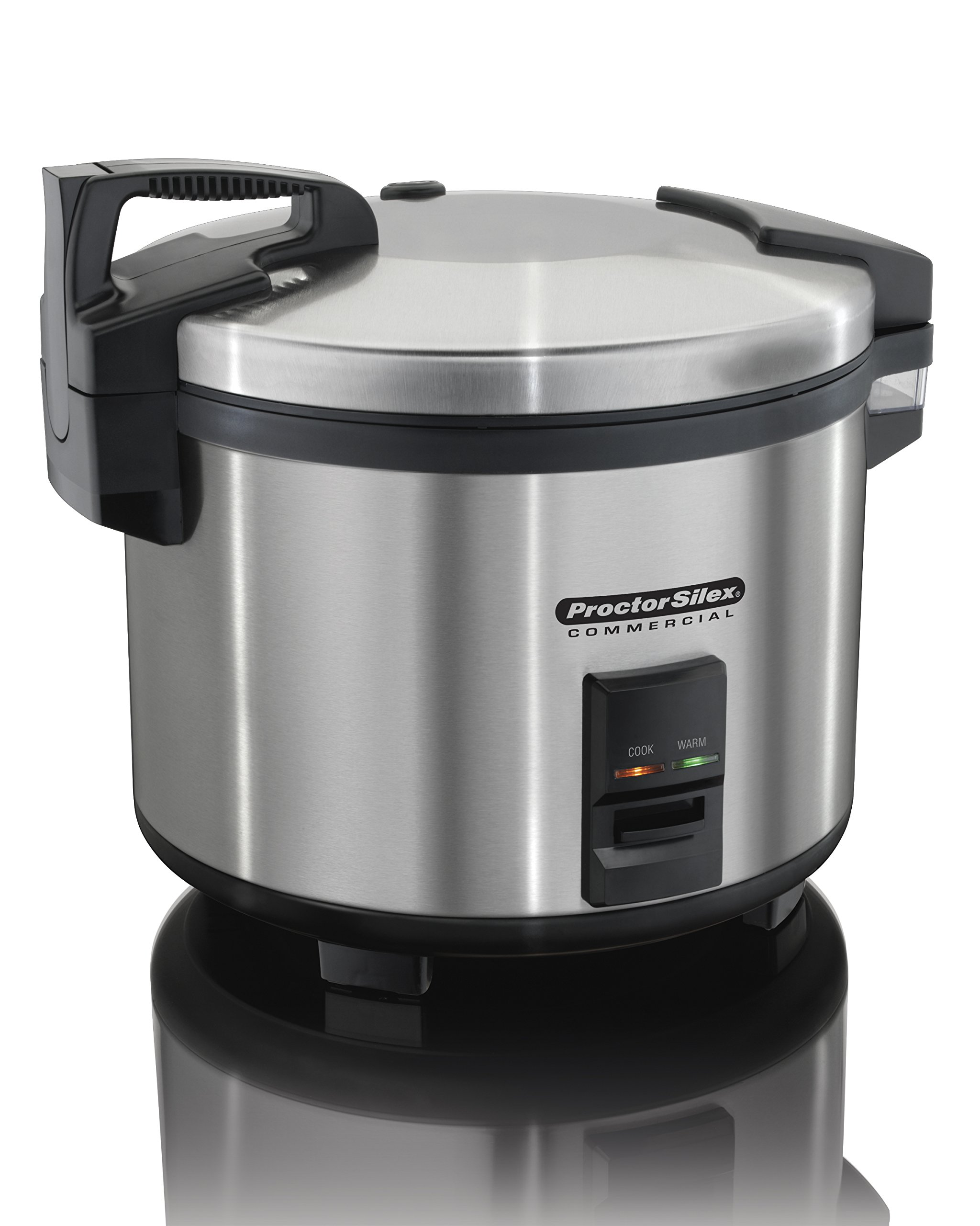 Proctor Silex Commercial 37560R Rice Cooker/Warmer, 60 Cups Cooked Rice, Non-Stick Pot, Hinged Lid, Stainless Steel Housing
