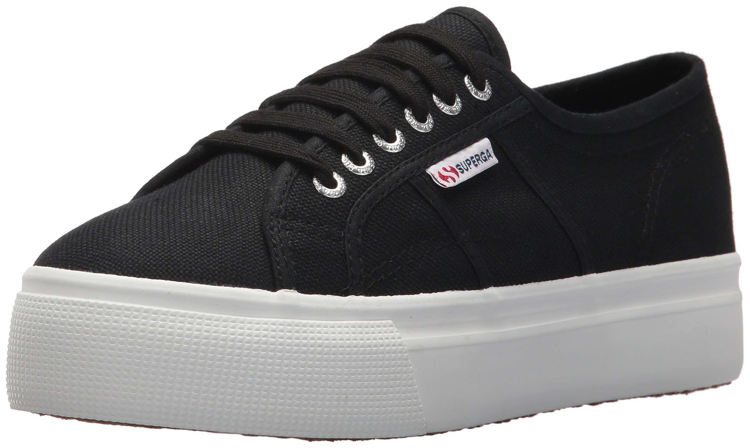 Superga Women's 2790 Platform Sneaker, Black/White, 35 M EU (5 US)