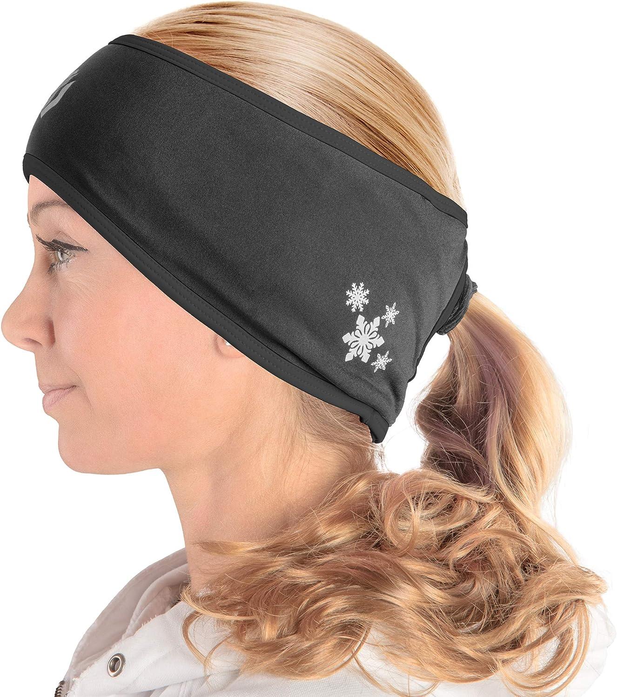 Natuce 2 Pieces Running Headband Fleece Ear Warmers Headband with Ponytail Hole