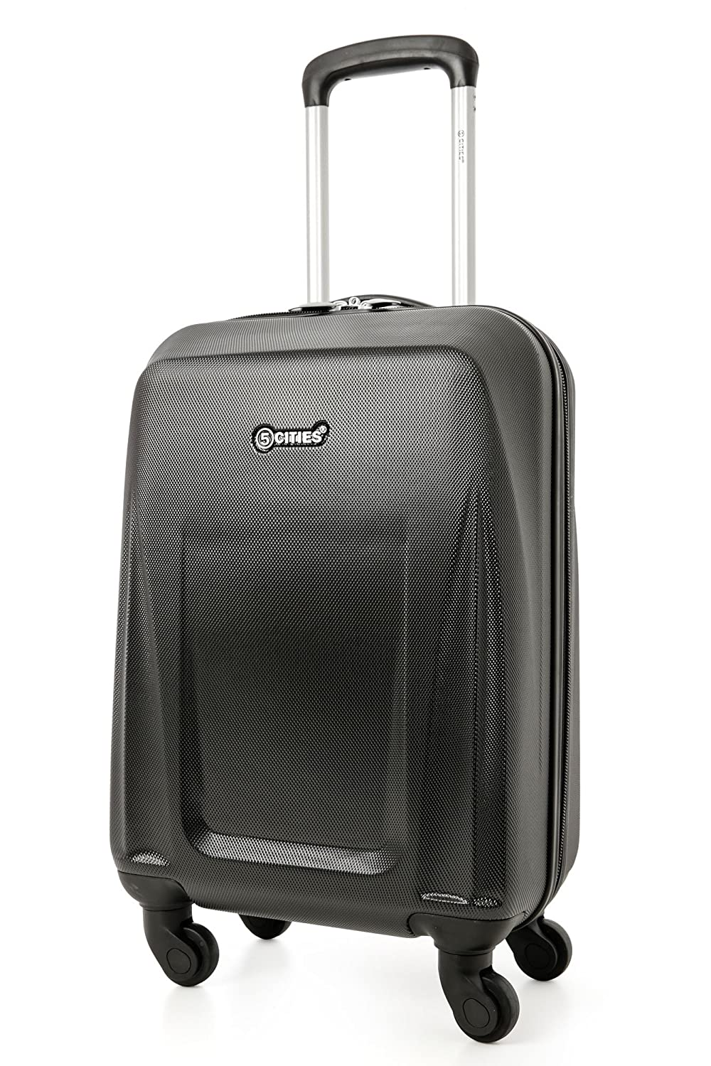 291356eb0648 5 Cities Lightweight Abs Hard Shell Cabin Suitcase Approve for Ryanair  Easyjet British Airways and More ABS125 Black 21 Hand Luggage, 55 cm, 32.0  L, Black