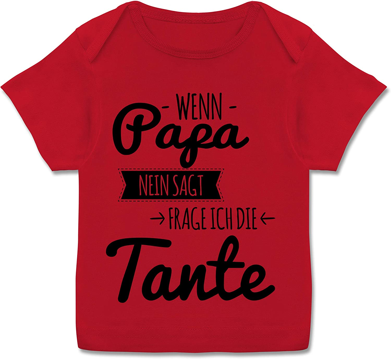 Wenn Papa Nein SAGT Frage ich die Tante schwarz Spr/üche Baby Kurzarm Baby-Shirt f/ür Jungen und M/ädchen Shirtracer