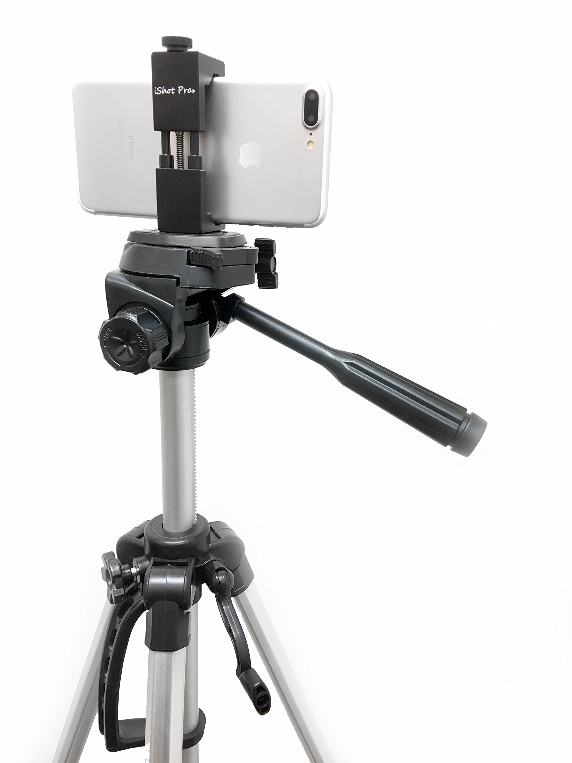 360/° Swivel Ball Head iShot Pro SecureGrip Metal iPhone Universal Smartphone Tripod Monopod Mount Adapter Hand-held GRIPstick Extendable Monopod Compatible with iPhone /& Smartphone 2.5 to 3.6