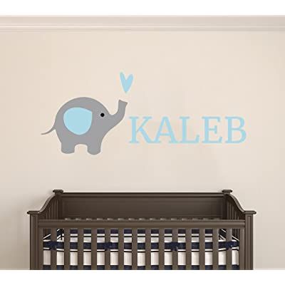 "Custom Name Elephant Animal Series - Baby Boy Wall Decal Nursery For Home Bedroom Children (AM24) (Wide 24"" x 10"" Height): Baby"