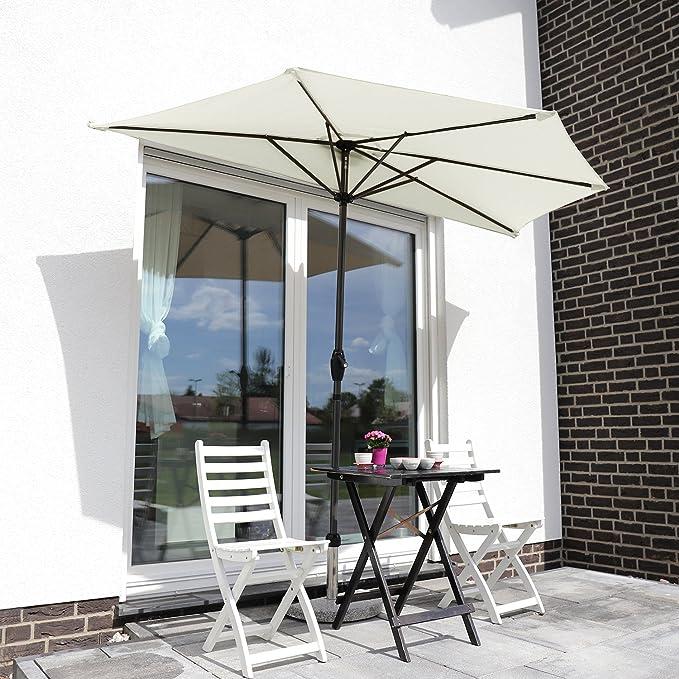 Sekey® semicircular sombrilla Parasol para terraza jardín Playa Piscina Patio diámetro 270 cm Protector Solar UV50+, Crema: Amazon.es: Jardín
