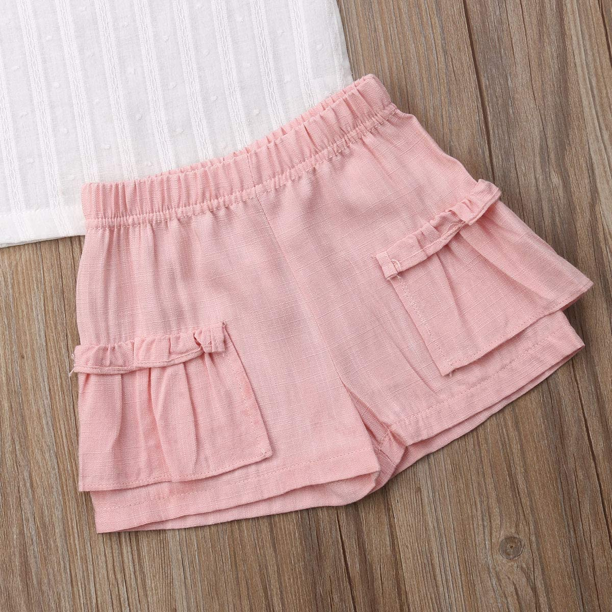 Infant Kid Baby Girls Summer Outfit Fly Sleeve Top Ruffled T-Shirt Blouse Pink Shorts Pants Clothing Set 6M-6Y
