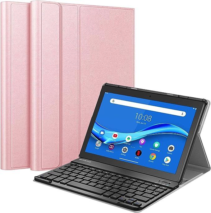 Fintie Funda con teclado compatible con Lenovo Tab M10 TB-X505F / TB-X505L / TB-X605F / X605L, funda fina con teclado alemán QWERTZ Bluetooth ...