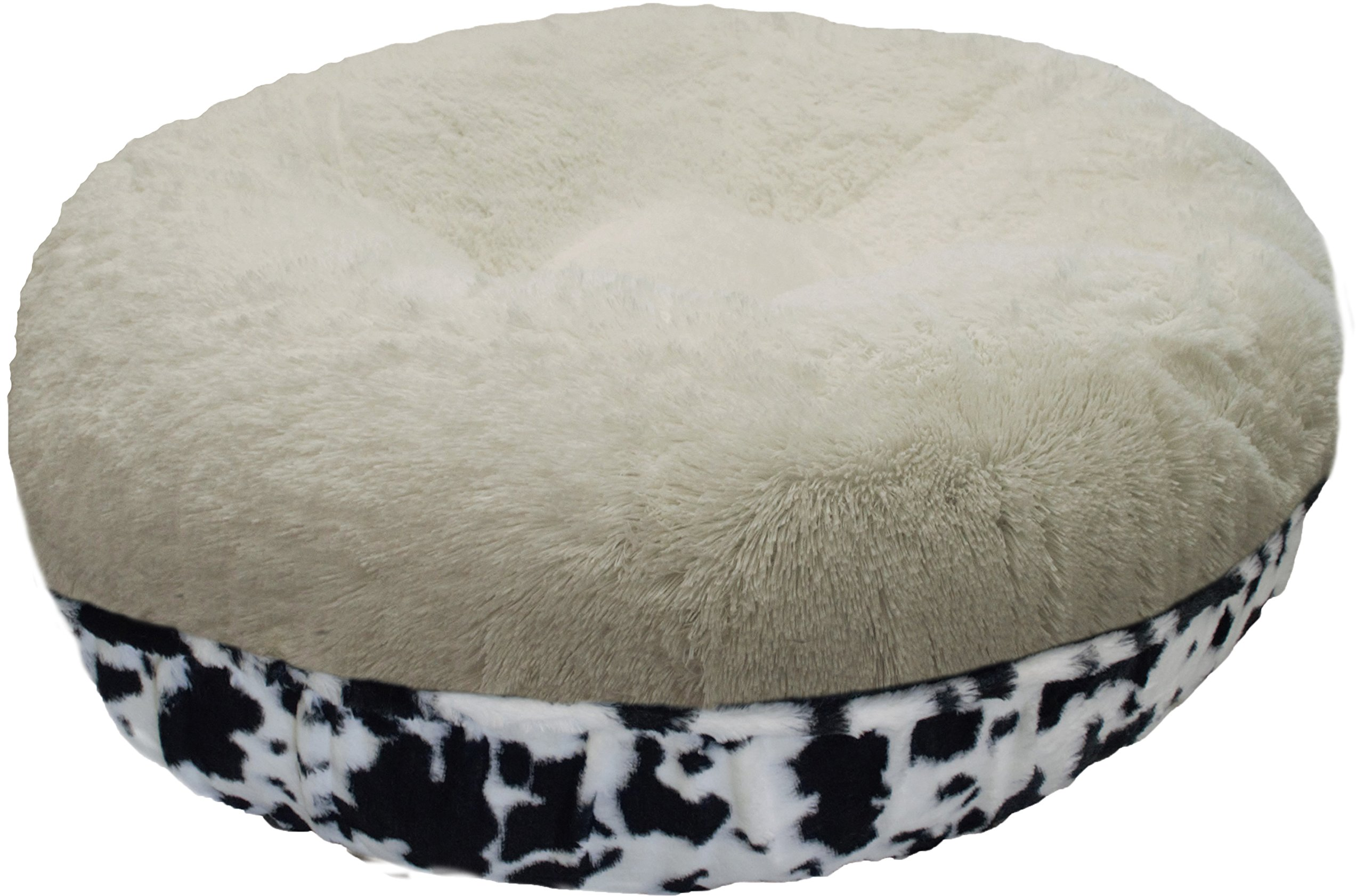 BESSIE AND BARNIE 24-Inch Bagel Bed for Pets, X-Small, Snow White/Spotted Pony