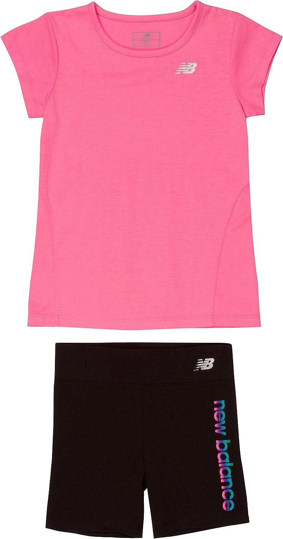 New Balance Girls Athletic Tee and Bike Short Sets