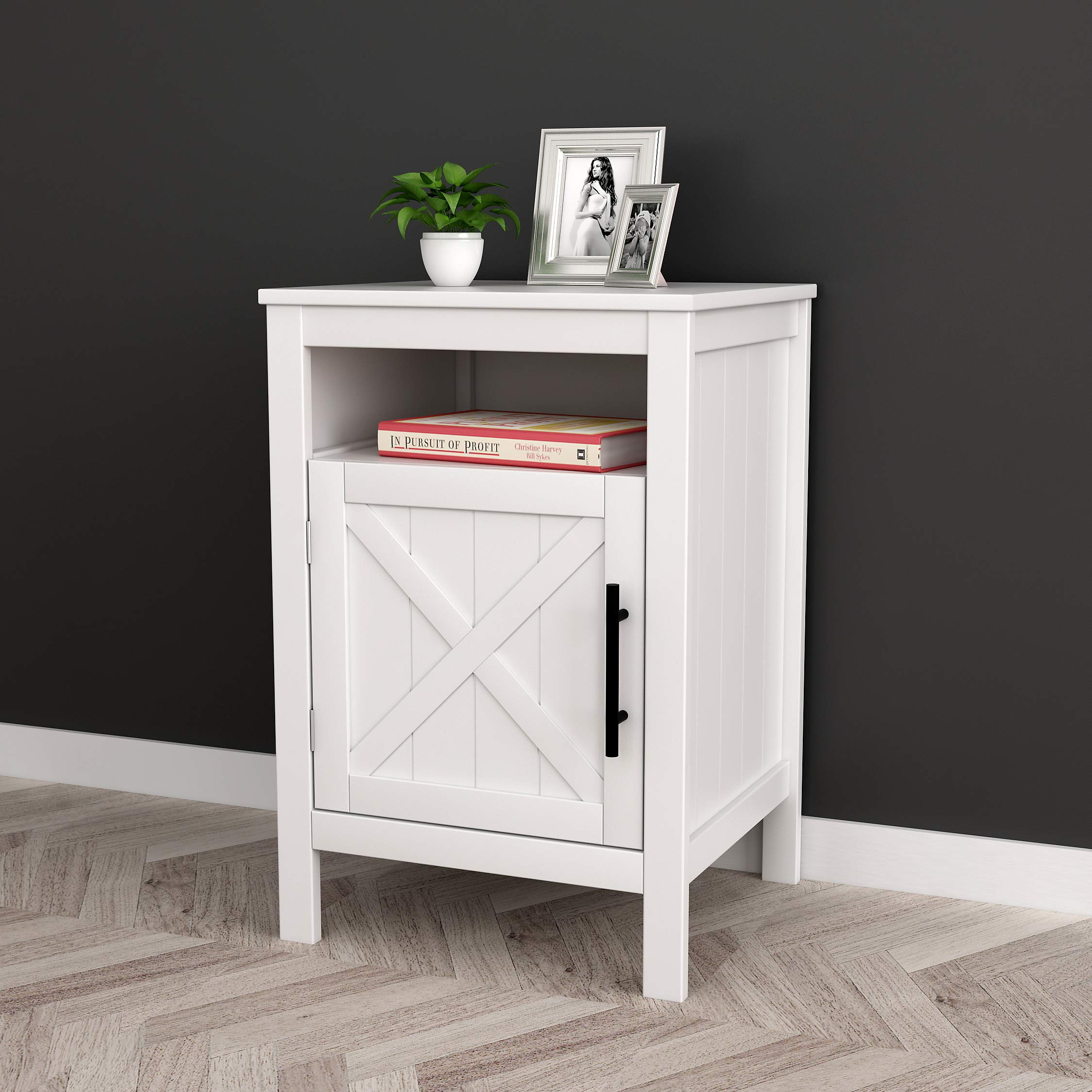 White Finish Nightstand Side End Table with Door Cabinet and Open Shelf 26'' H by Unknown