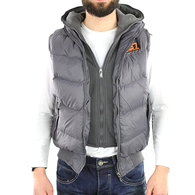 Rivaldi - Chaqueta - Moncler - Capucha - Sin mangas - para hombre gris medium: Amazon.es: Ropa y accesorios