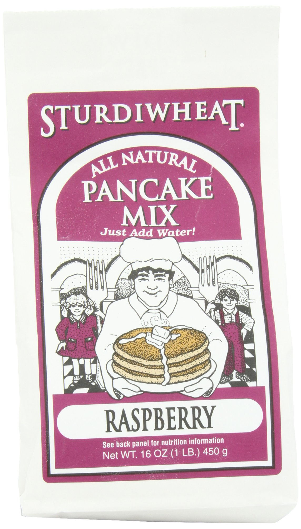 Sturdiwheat All Natural Pancake Mix, Raspberry, 16-Ounce Package (Pack of 4)