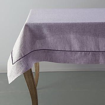 100% Pure Linen Tablecloth Vesta, Square Table Cloth, 60 X 60 Inch Purple