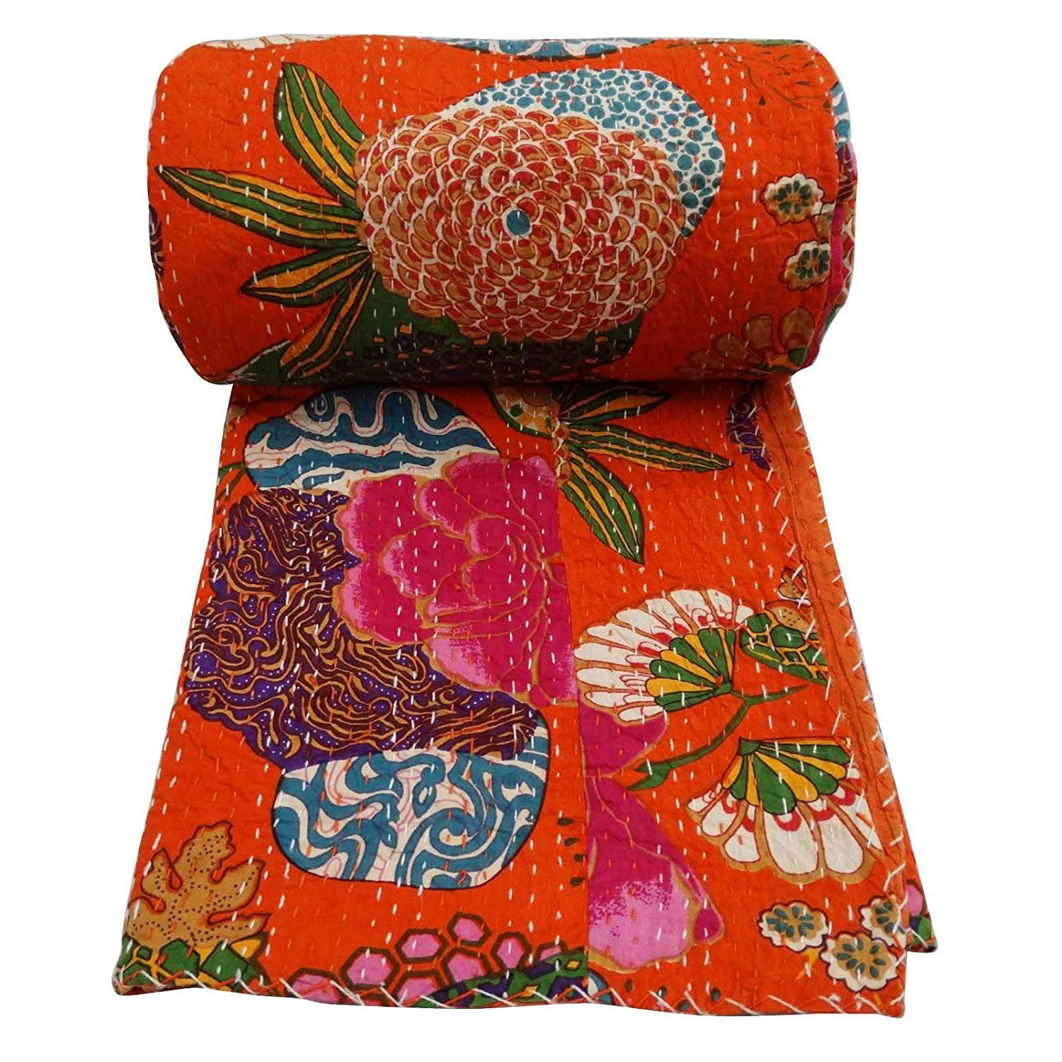 Marubhumi Indian Cotton Kantha Quilt Bedspread Twin size Floral Print Kantha Stitch, 60 X 90 inches (Orange)