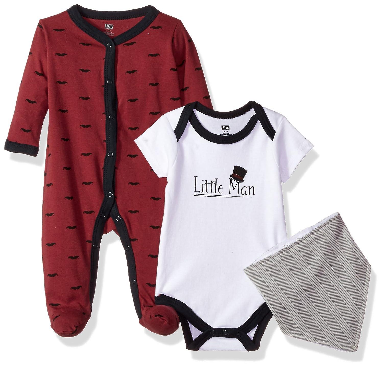 Hudson Baby Sleep and Play, Bodysuit and Bandana Bib Set, 3 Piece 10151658