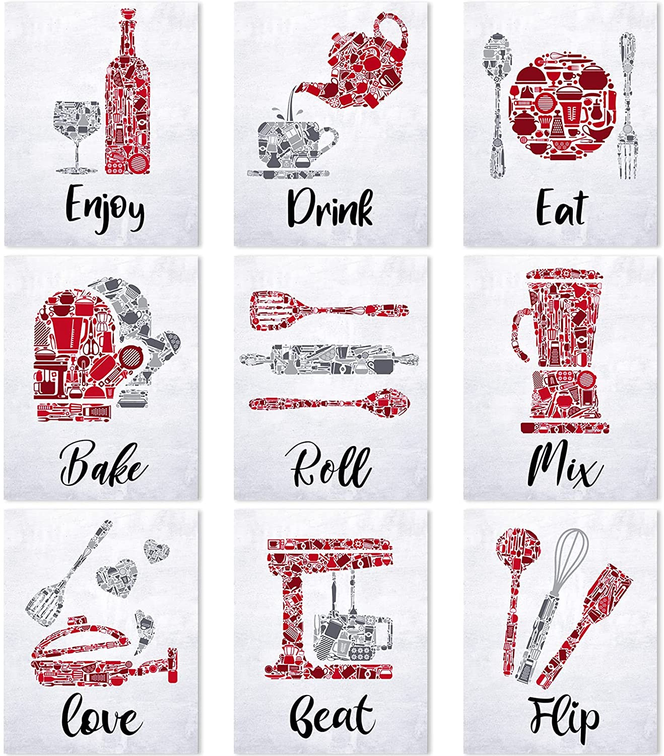Zonon Red Kitchen Wall Art Prints Kitchen Wall Decorations Eat Drink Love Enjoy Hearts Prints Posters Signs Vintage Inspirational Kitchen Wall Art Decorations Home Decor Funny Sayings Quotes Unframed
