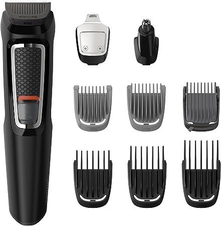 Contiene 9 accesorios para cara, cabello y cuerpo,Tiene cuchillas autoafilables,El recortador metáli