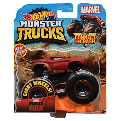 Hot Wheels Monster Trucks 1:64 Scale Red Hulk Connect and Crash, red: Toys & Games