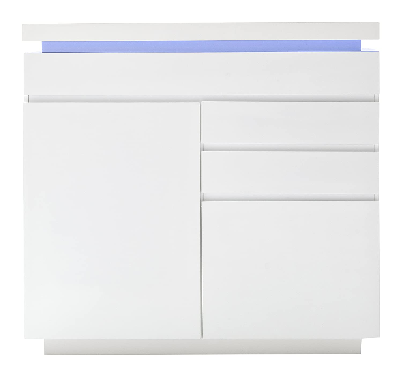 Robas Lund 48986WW8 Kommode Ocean, MDF- Platte Hochglanz lackiert, weiß, 120 x 40 x 114 cm
