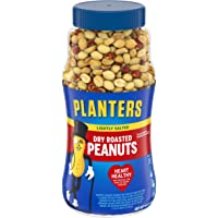 PLANTERS Lightly Salted Dry Roasted Peanuts, 16 oz. Resealable Jar - Peanut Snacks - Great Movie Snack, Active Lifestyle Snack and Party Size Snack - Kosher Peanuts