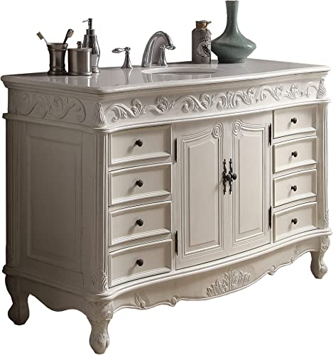 56 Benton Collection Antique White Beckham Bathroom Sink Vanity Model CF-3882W-AW-56