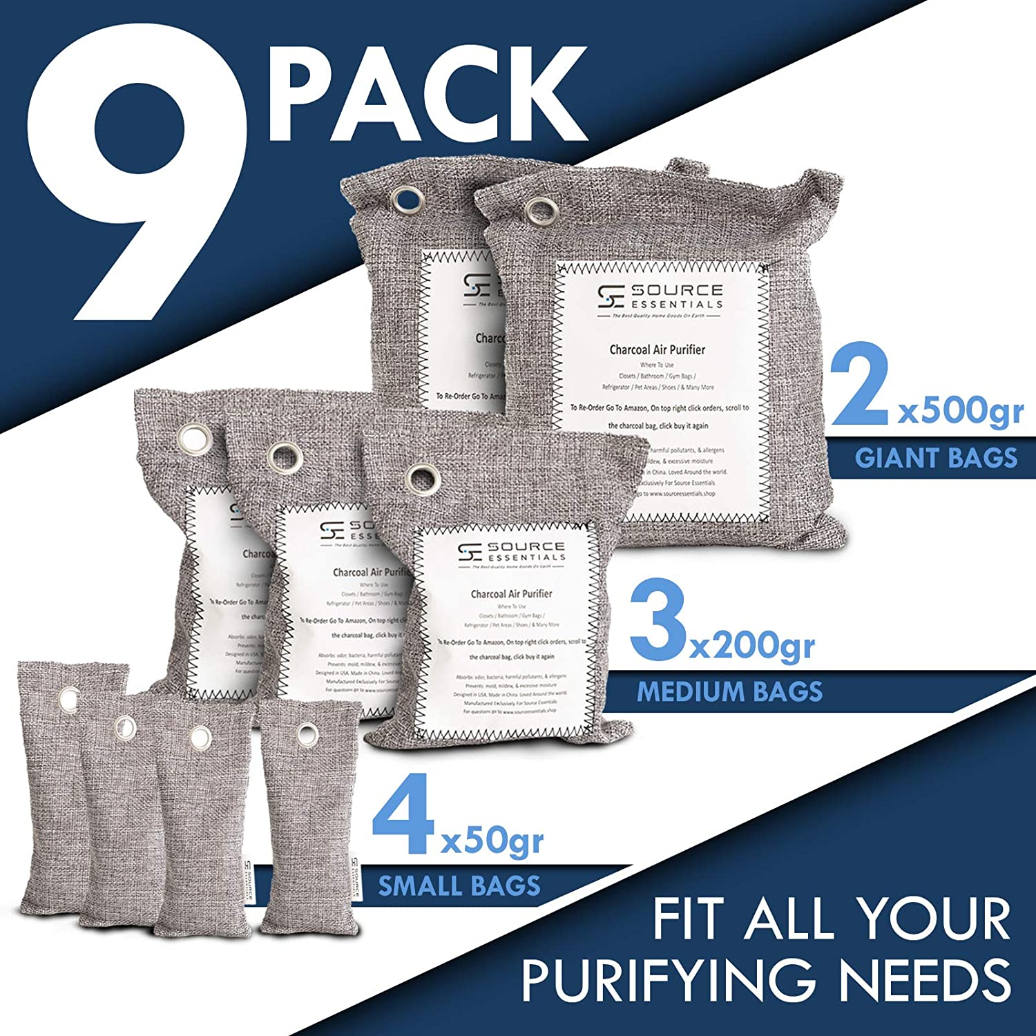4 Pack 500g Bags Charcoal Air All Prime Bamboo Charcoal Air Purifying Bags