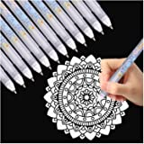 Dyvicl White Ink Pens - 12-Piece Fine Point Tip White Gel Pens for Black Paper Drawing, Illustration, Rocks Painting, Adult C