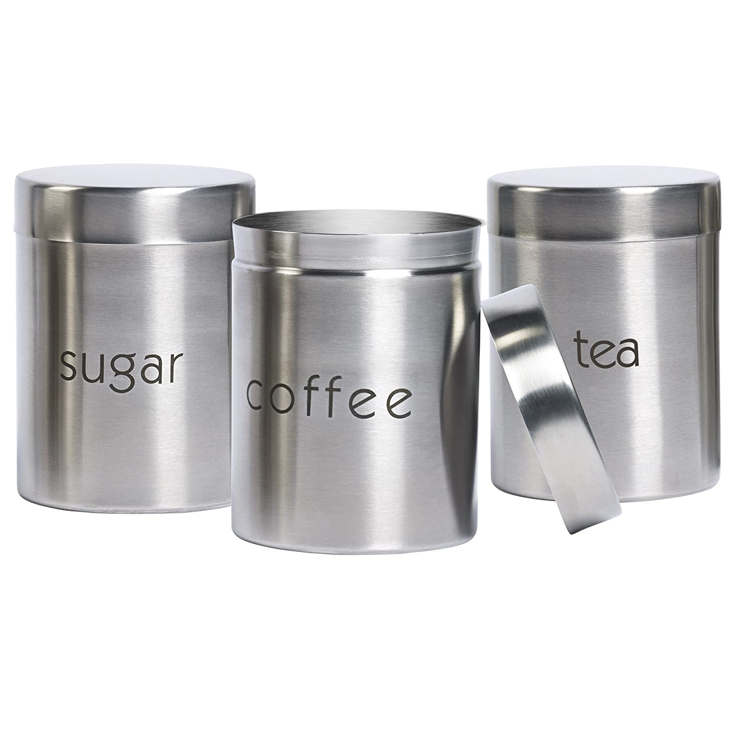 Amazon.com: 3 Piece Stainless Steel Canister Set, Kitchen ...