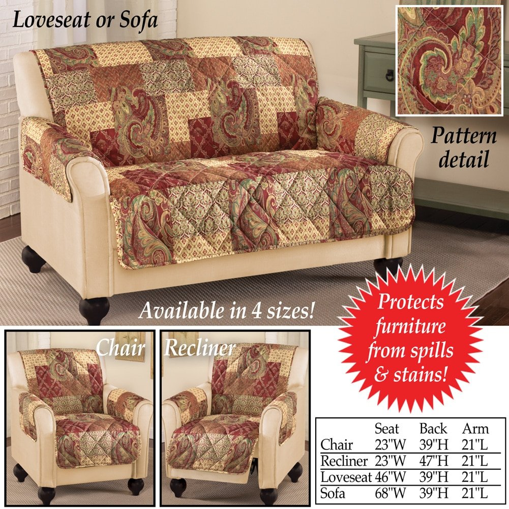 Amazon.com: Collections Etc Paisley Floral Patchwork Furniture Protector  Cover, Brown, Loveseat: Home U0026 Kitchen