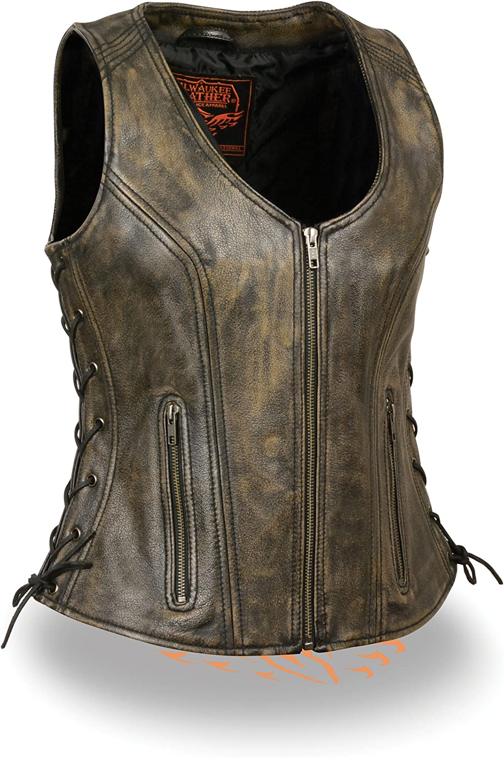WOMENS MOTORCYCLE RIDERS DISTRESSED BROWN SOFT LEATHER VEST W// SIDE LACES NEW Regular 5XL Regular