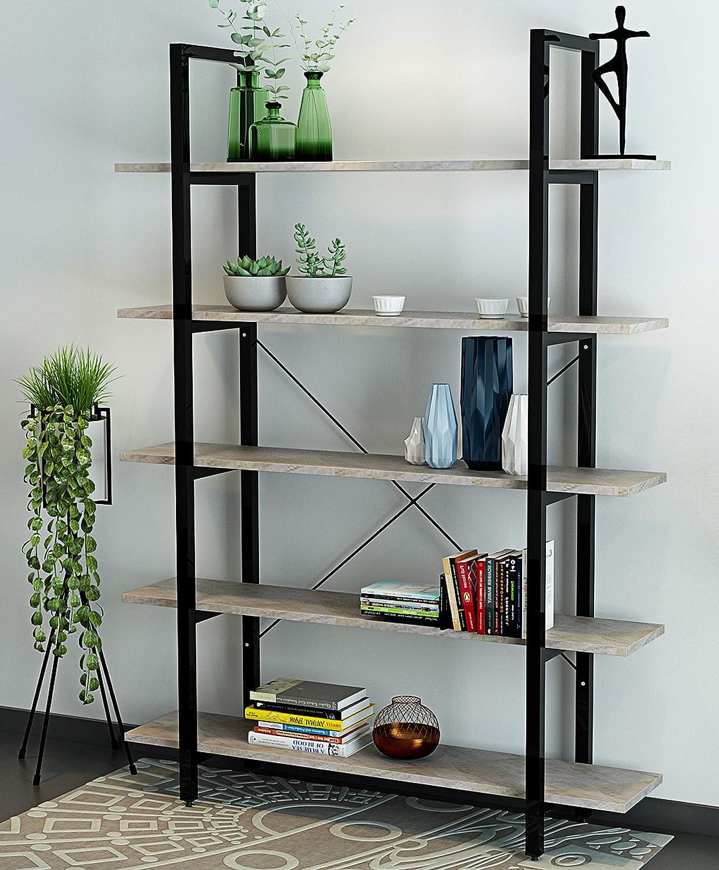 ORAF 5-Tier Vintage Industrial Rustic Bookshelves, Industrial Modern Bookshelf in Wood and Metal, Etagere Bookcase Living Room & Office, Grey Grain