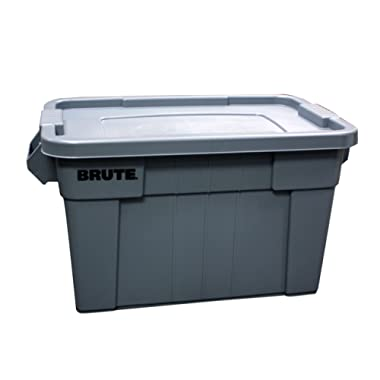 Rubbermaid Commercial BRUTE Tote with Lid, 20-Gallon, Gray, FG9S3100GRAY