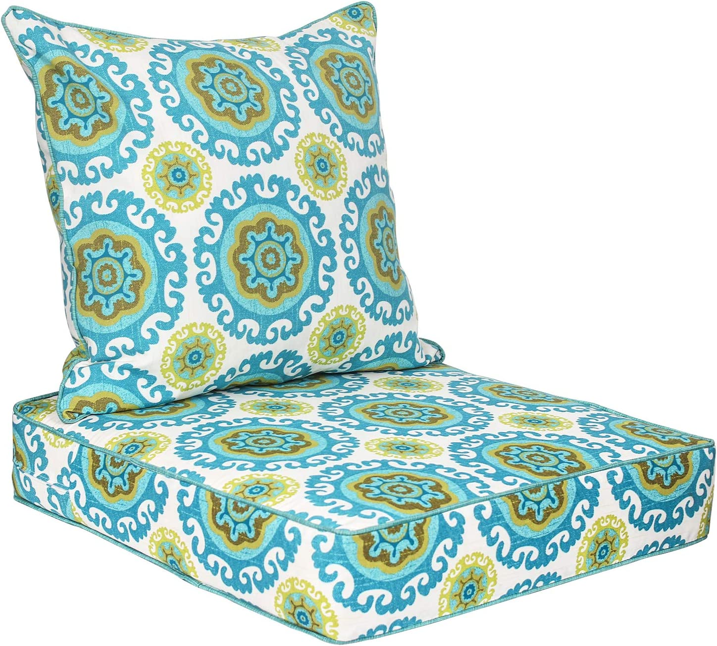 Deep Seat Cushions, Patio Seat and Back Cushion Sets, Outdoor Chair Cushions with Removable Covers for Armchair, Rattan Wicker Chair, Dining Chair, Garden Furniture- Floral 2-Piece Set