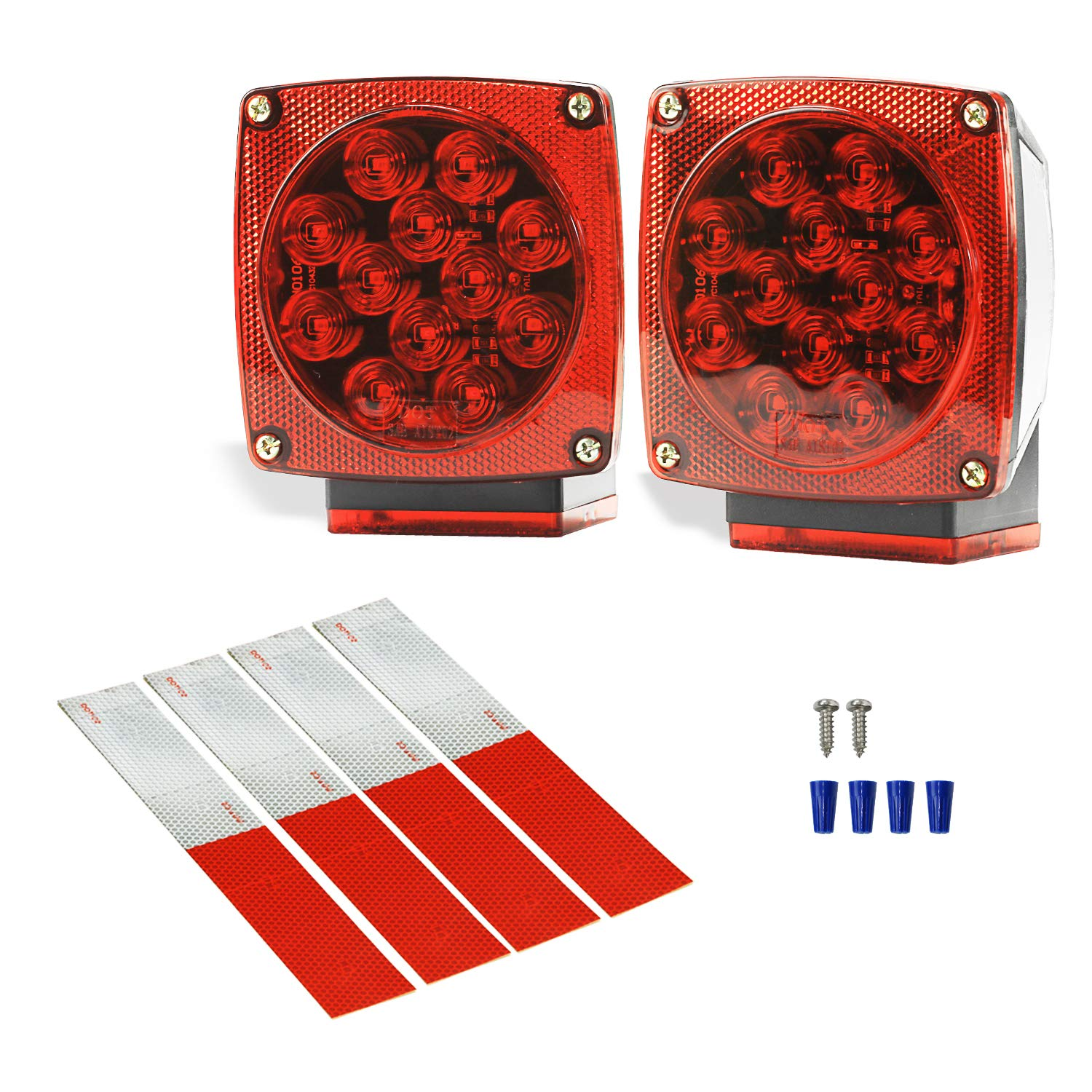 Wellmax 12V LED Submersible Trailer Lights, Left and Right Trailer Lights for Stop, Turn, and Signal Lights, for Under 80 Inch Boat Trailers, Truck, and RV by Wellmax