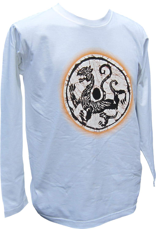 White Raan Pah Muang Fullmoon Design Celtic Carved Serpent Serpent Serpent Long Sleeve Shirt 323a10