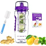 AQUATIME Time Marked Fruit Infuser Water Bottle Large 32 oz – Free Brush for Easy Clean – Convenient to Carry - Leak…