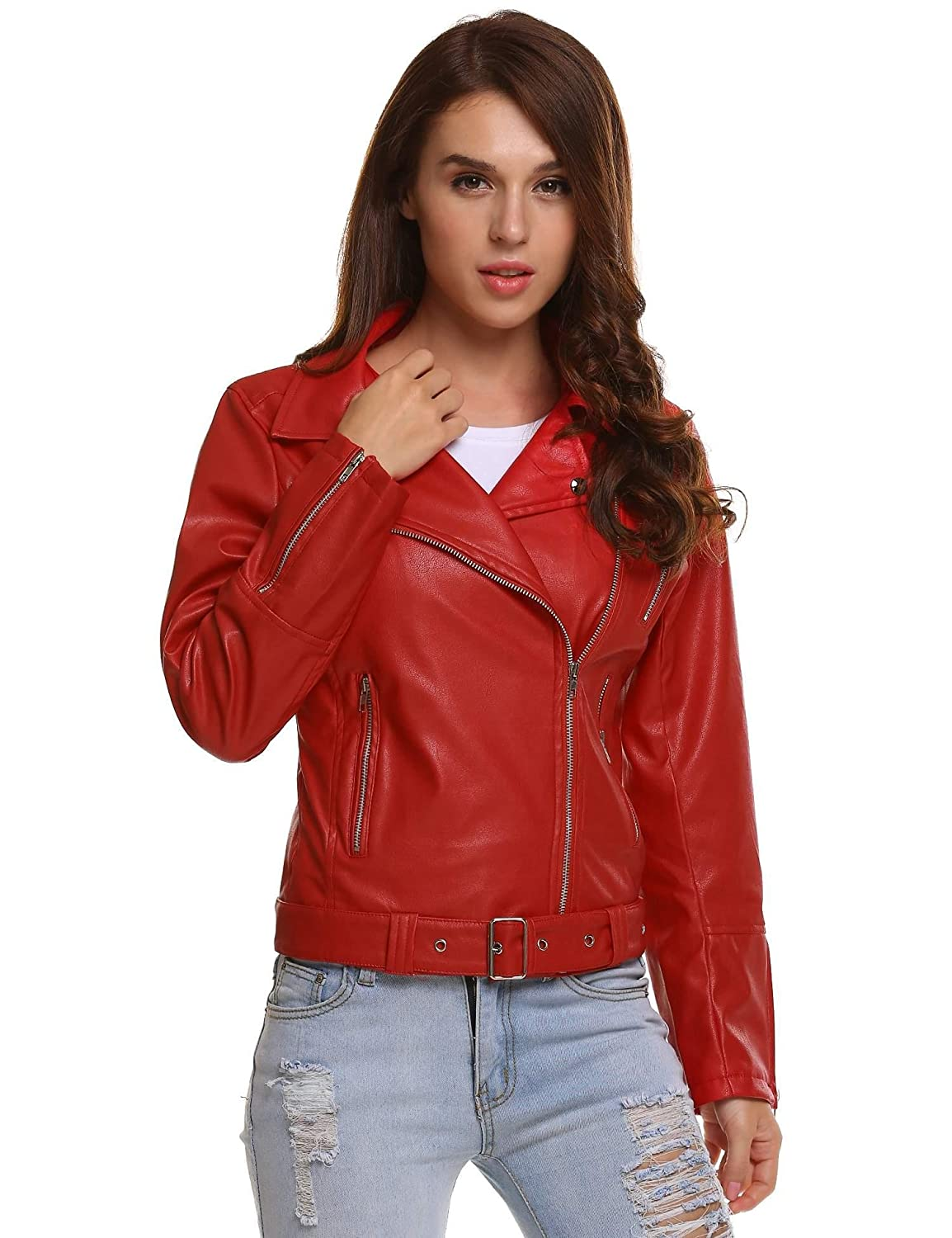 Meaneor Women's Turn Down Collar Zipper Short Belted Moto Biker Faux Leather Jacket
