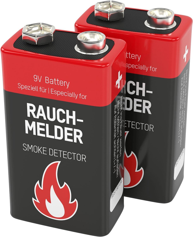 ANSMANN Pack de 2 pilas Longlife petaca de 9V alcalinas - Especiales para detectores de humo y otras alarmas - Larga duración - 7 años de almacenaje