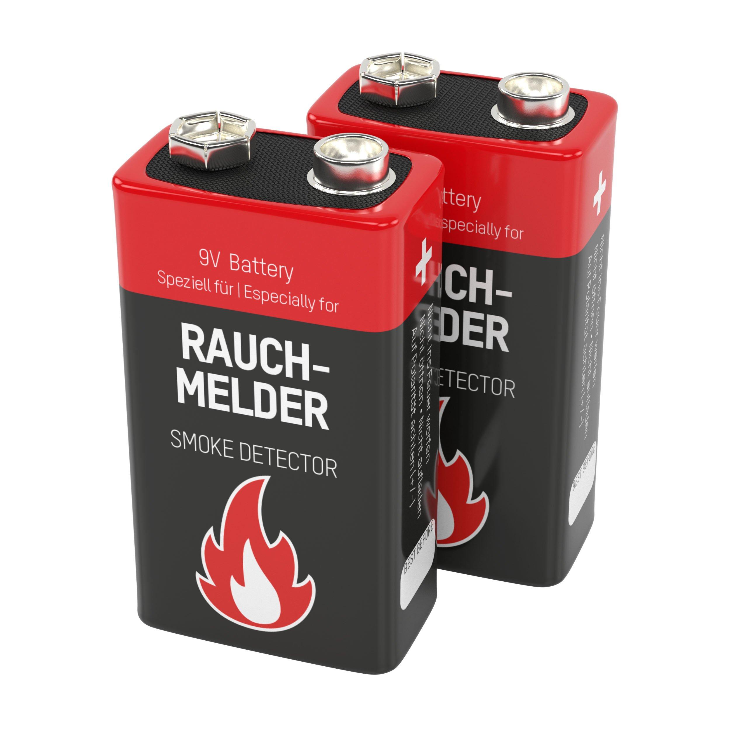 Ansmann 9V Alkaline Battery for Smoke Detectors Battery, Red, 2-Pack (1515-0006)
