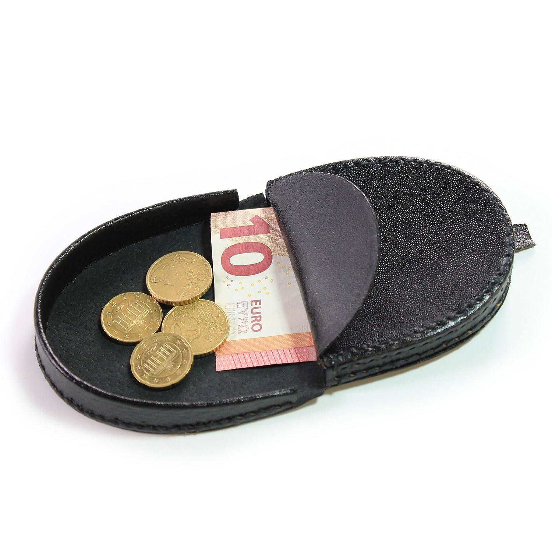 Schüttelbörse Leder - Portemonnaie Mini - Munzenbeutel - Münze Tasche Kleine – Schüttbörse Herren – Damen – Vintage (Braun)
