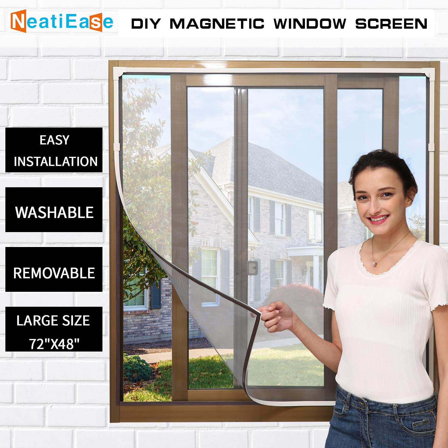 NeatiEase Adjustable DIY Magnetic Window Screen Max 72'' x 48'' Fits Any Size Smaller with White Frame Fiberglass Mesh