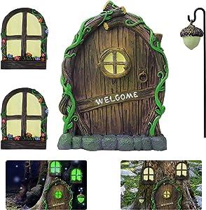 KY-YPFW Miniature Fairy Door & 2 Windows & Fairy Lantern for Trees ( 4 Piece Set) - Glow in Dark Fairies Yard Art Garden Ornaments Sculpture Noctilucence Decoration for Kids Room Wall Outdoor Decor